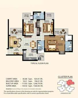Furnished 3bhk Flat in Eros Sampoornam