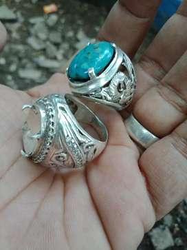 Ring perak dua bonus batu pirus naizabur