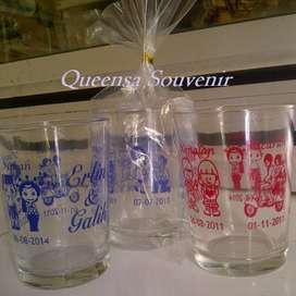 Souvenir gelas sablon murah