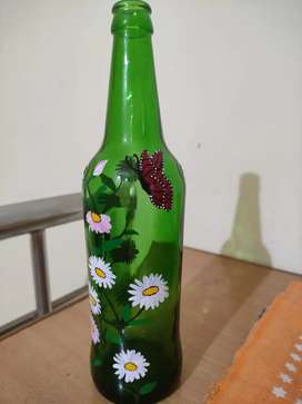 Bottle Art - Nature theme and flowers