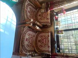 Sagwan wood sofa 3+1 seater in good condition