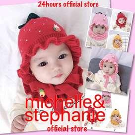M&S ICTK17-Winter Baby Girl Warmer Scarf Hat With Cartoon Design