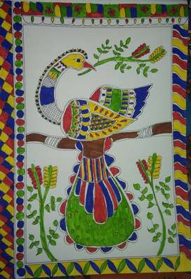 Mithila painting of peacock