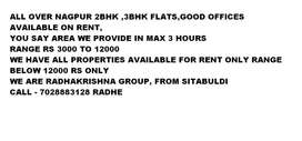 ALL OVER NAGPUR 2BHK ,3BHK FLATS,GOOD OFFICES AVAILABLE ON RENT