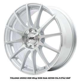 velg racing mobil honda brio HSR R15X6 H8X100-114,3 ET42 SMF