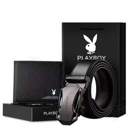 Playboy Gesper + Dompet Gift Box Set
