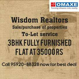 3bhk independent omaxe flat at 35000 rs only