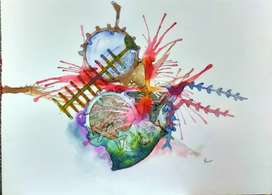 """Painting ,size: 15""""×12"""", mediam: brass and water proof ink, Fabiano ."""