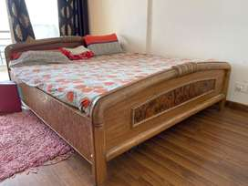 Double bed with Royal Dressing table and a side box made of teak wood