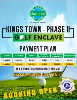 KING TOWN 3 & 5 Marla plots  booking open phase 2  400000 lac starded