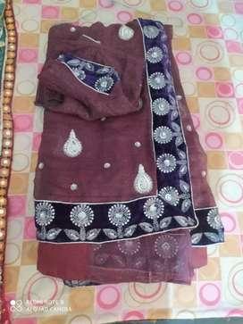 Brown wedding saree