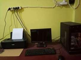 Jual satu set komputer + printer