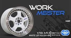 READY R15 Velg Work Meister Polish White 4hole Lebarblk