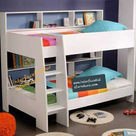 High quality.double kids bunk bed with front stairs and two back stora