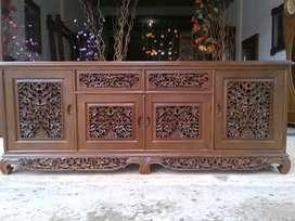 Bufet tv palembang ukiran mewah, p.200cm, bahan kayu jati terbaik
