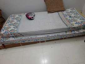 Single cot , 2 mattress and indoor swing