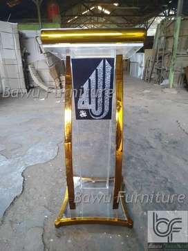 Mimbar Podium Masjid Mimbar Acrylic Stainless Gold 59