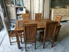 Kursi dan meja makan asli kayu jati model minimalis 6 kursi