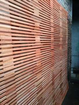Tirai bambu dan kulit bambu dan rotan enau