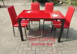 Mjb mebel - promo meja makan import kaca merah 4kursi
