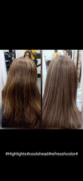 Hair cut, had massage, hair wash ,hair style,D Ten