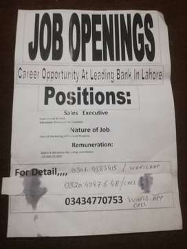 Career opportunity at leading bank in lahore