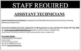 Fresh DAE (Mechanical) Assistant Technicians Required