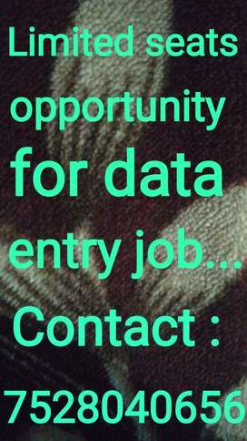 Limited seats opportunities for data entry job