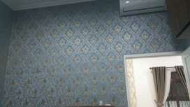 Wallpaper dinding premium quality harga sudah termasuk ongkos pasang