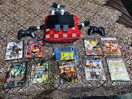 PLAYSTATION 2 WITH 28 GAMES, 1 CONTROLLER, 2 MEMORY CARDS, DVD REMOTE