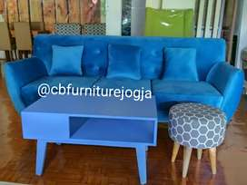 Sofa 3 Seater model Scandinavian + Meja Free Stool cantik