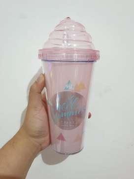 Original Miniso Botol Minum Whipeed Cream Lid Plastic Tumbler 420ml