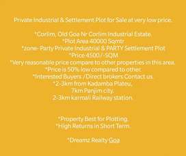 40K Private Industrial & Settlement Plot for Urgent Sale  @4500psm.