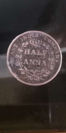 Antique coin 1835 half Anna half dollar kennady silver 1967