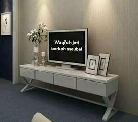Meja tv minimalis modern laci 4, bahan kayu jati asli 100%