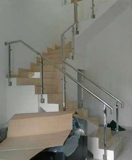 Reling tangga kaca ss #467