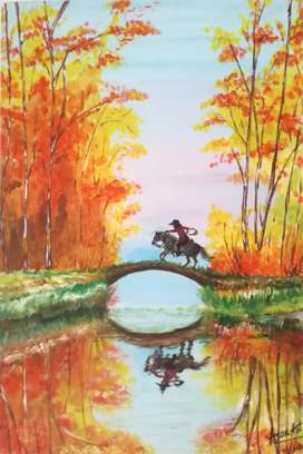 "Original painting handmade "" horse in the forest"""