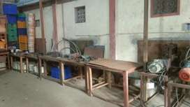 Industrial lab working wooden tables