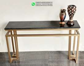 Premium Gold Console Table with  Black and Skin Marble top