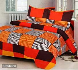 Polycotton Printed Double Bedsheet with 2 Pillow Covers
