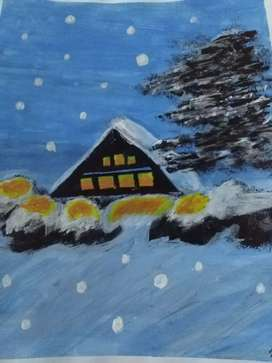 Snow painting on canvas