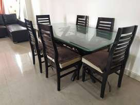 Wooden Dining Set, With Glass table and 6 chairs