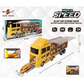 Race Speed Truck with Sliding Alloy Cars for Kids