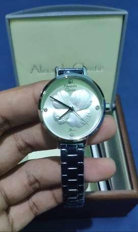 Jam tangan wanita Alexandre christie 2854 blue silver baru