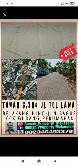 Tanah Jl Tol Lama Parangloe 33.035 M² Cck Gudang dkt Jl Tol sutami