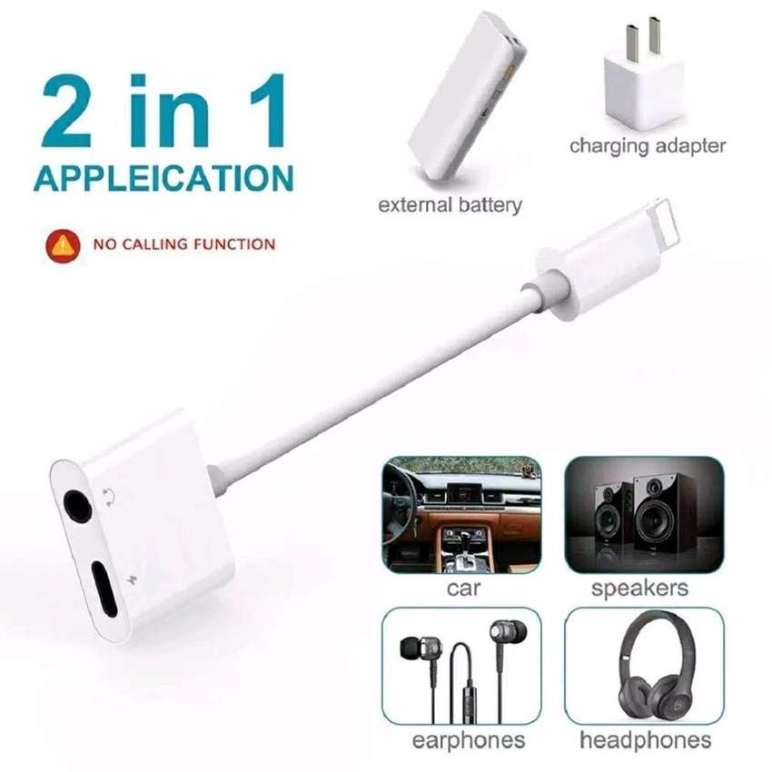 HS kabel splitter headset + charger iphone 2 in 1 adapter to 3.5mm