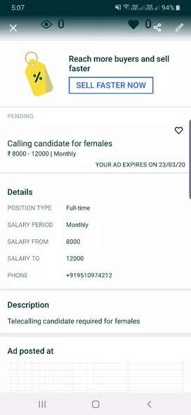 Calling candidate for females