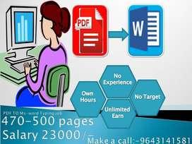 Typing job | at work from home | salary 23000/-