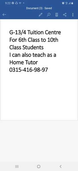6th Class to 10th Class Tuition Centre in G-13/4
