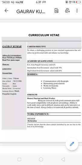 Hi I just done B.A and iam looking for a job